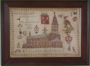 Saint Marks Church formerly in the parish of Witton, stitched in 1842 by Alice Walsh aged 10