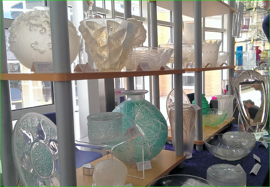 Lalique and WMF in a section of the Madelena Stand 9, Cambridge Glass Fair, Linton, 2013