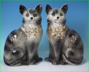 Pair green eyed cats, Staffordshire figures made in Scotland circa 1900