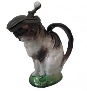 Majolica cat jug by Minton, circa 1875.