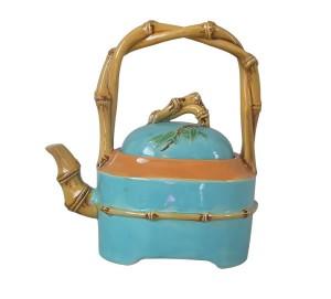 Majolica teapot/kettle by Minton, circa 1877