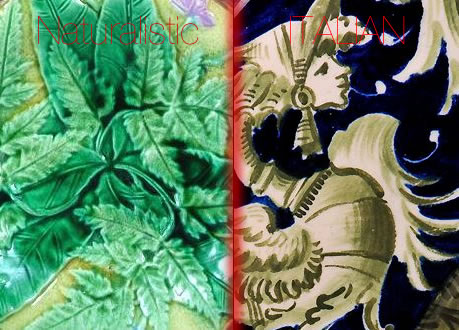 Naturalistic vs Italian style Majolica and Maiolica