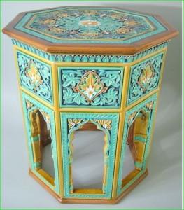 Doulton Lambeth Victorian majolica pottery lead glaze conservatory table