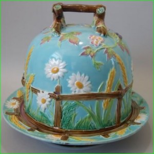 G Jones victorian majolica pottery cheese keep