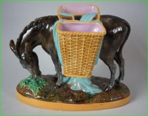 George Jones victorian majolica pottery donkey flower holder
