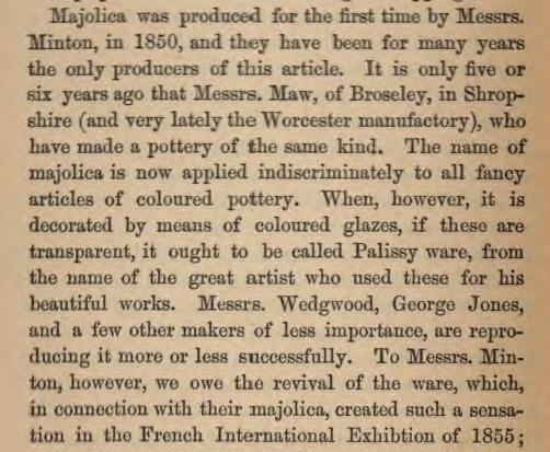 Leon Arnoux 1877 on Palissy ware and majolica