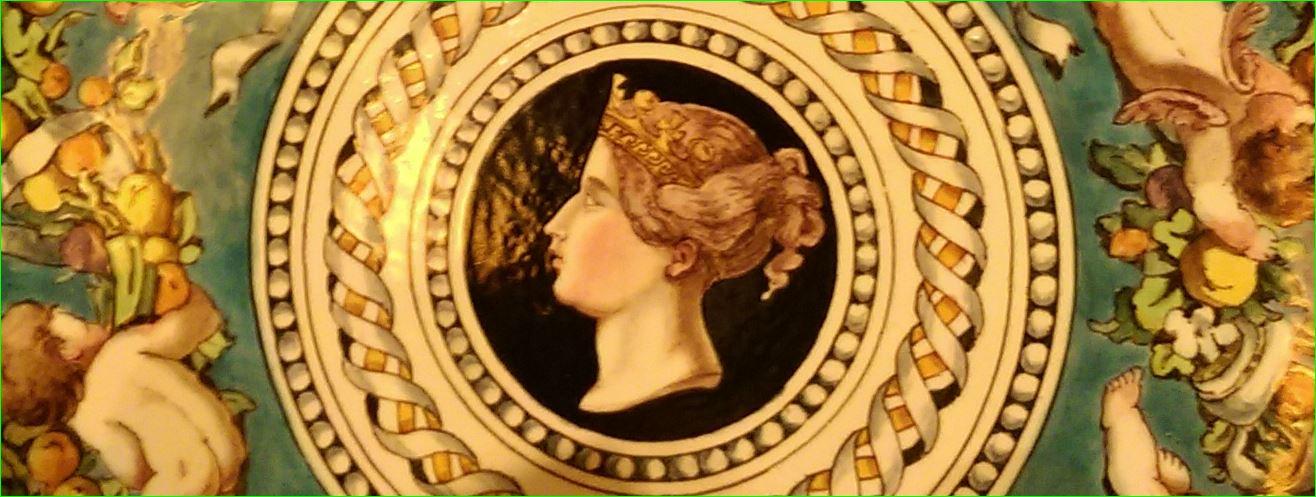 Minton tin-glaze 'majolica' plate, 1861, brush-painted decoration on opaque white tin-glaze enamel.