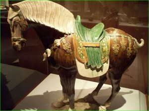 Lead glaze earthenware, Chinese Sancai horse, colored
