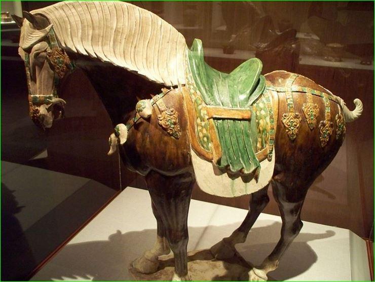 Lead glaze earthenware, Chinese Sancai horse, colored