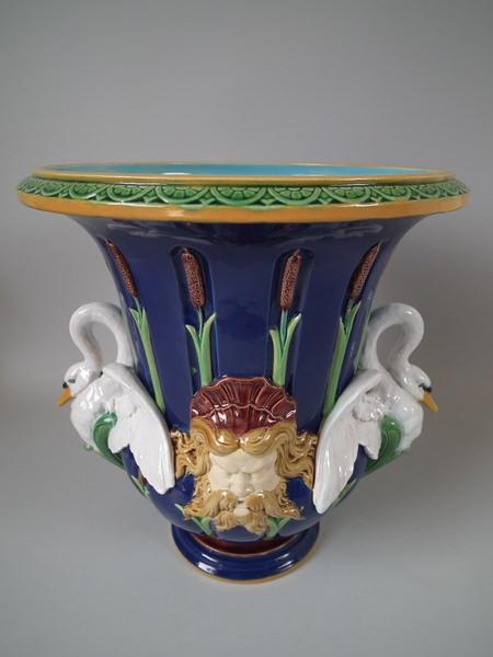Minton Majolica jardinière circa 1873. Colored lead glazes.