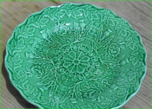 Circa 1830 Brameld platter. Lead glaze colored green with copper oxide.