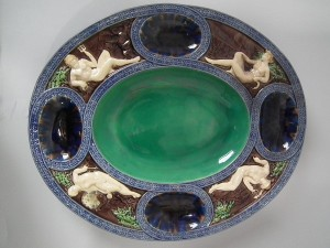 Minton Majolica lead-glazed platter with molded Juno, Neptune, Mercury and Selene. Full set of Minton marks and pattern number '367'.