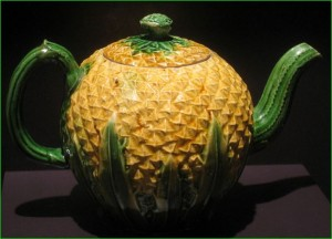 Circa 1770 Whieldon 'cauliflower' teapot. Colored lead glazes applied direct to the 'biscuit'
