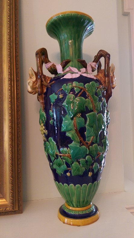 Rare Minton cat-handled vase circa 1862, decorated with coloured lead glazes