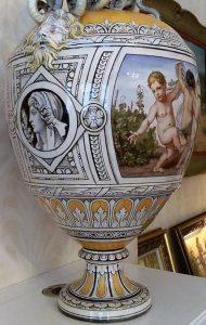 Minton tin-glaze majolica, brush painted decoration on opaque white glaze, impressed factory marks, circa 1860