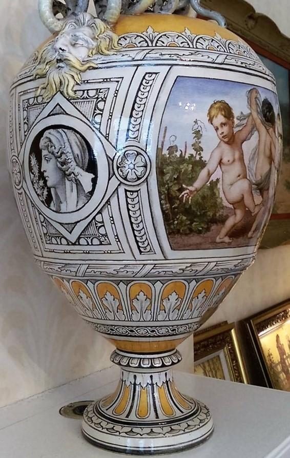 Minton tin-glazed majolica Urbino vase, brush painted decoration on a white opaque tin glaze.