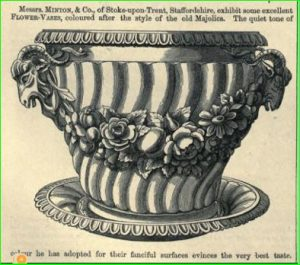 1851 Industry of All Nations Art Journal Illustrated Catalogue illustration of a single Minton flower vase