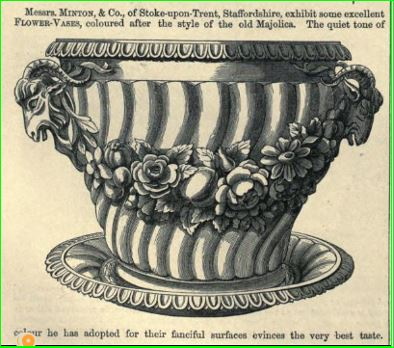 Majolica product / Maiolica 1851 Industry of All Nations Art Journal Illustrated Catalogue illustration of a single Minton flower vase