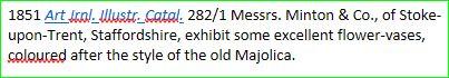 Dictionary Citation for a 19th century sense of the noun 'majolica'