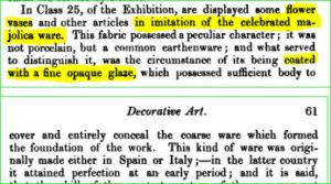 Dictionary Citation for a sense of majolica n. tin glaze flower vases