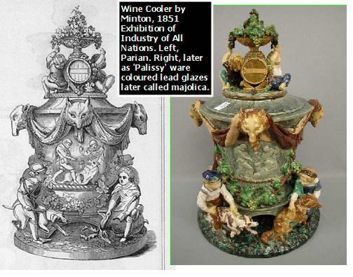 1851, Illustrated Catalogue, Minton Wine Cooler, centerpiece of dessert service in Paian ware. Right, MAJOLICA, colored lead glazes decoration.