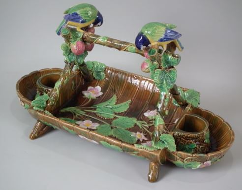 George Jones majolica Strawberry Server
