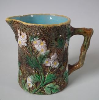 Majolica-makers' marks - GJ blossom jug. This has no marks whatsoever to the underside.