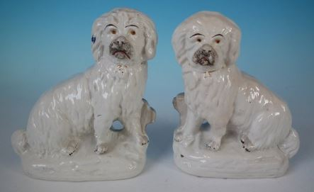 Antique Victorian Staffordshire Pottery Dogs Bearded Collies