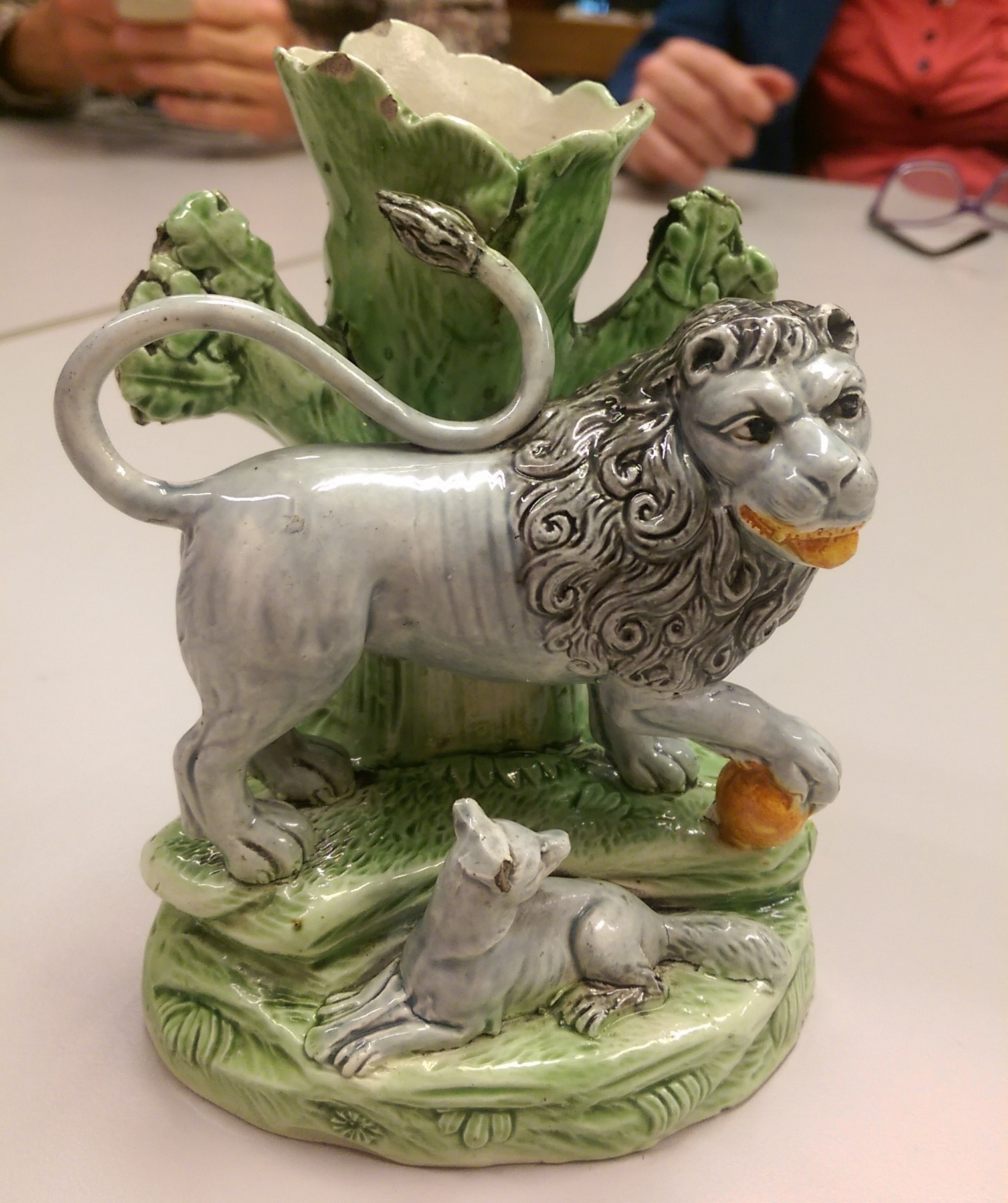 Antique Victorian Staffordshire pottery spaniel or lion
