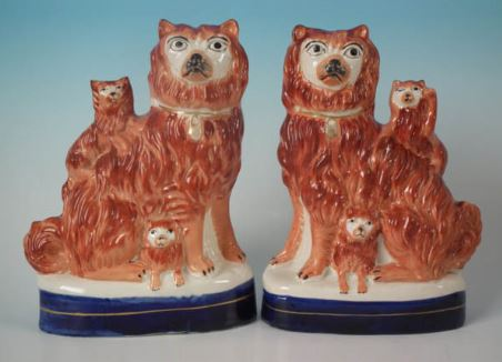 Antique Victorian Staffordshire Pottery Dogs, Antique Victorian Staffordshire Pottery Spaniels