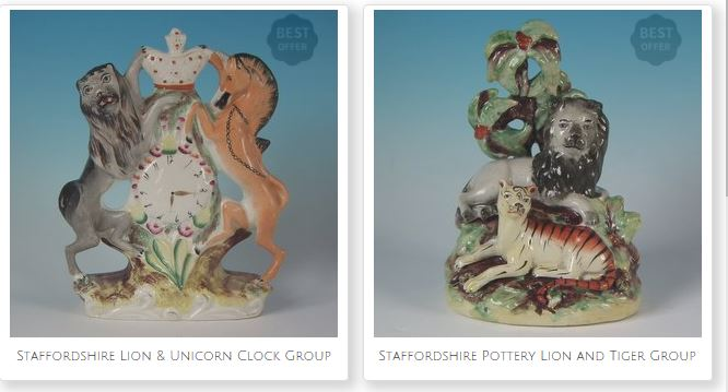 Antique Victorian Staffordshire Pottery Spaniels. Figures associated with Queen Victoria. The Royal Arms and a powerful reminder of her role as Empress of India.