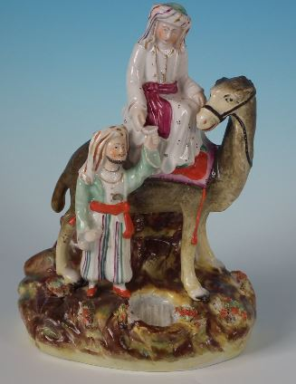 Antique Victorian Staffordshire Pottery Spaniels Lady Hester Stanhope, innovative and resourceful explorer and archaeologist