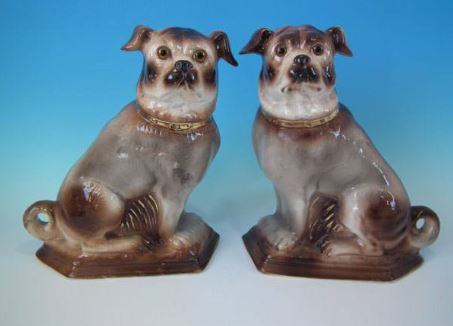 Antique Victorian Staffordshire Pottery Dogs Pugs