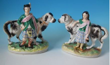 Royal Children Antique Victorian Staffordshire Pottery Royalty. Antique Victorian Staffordshire Pottery Spaniels