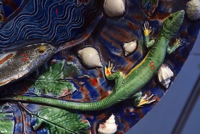 Five colours, Palissy 'follower', circa 1600AD