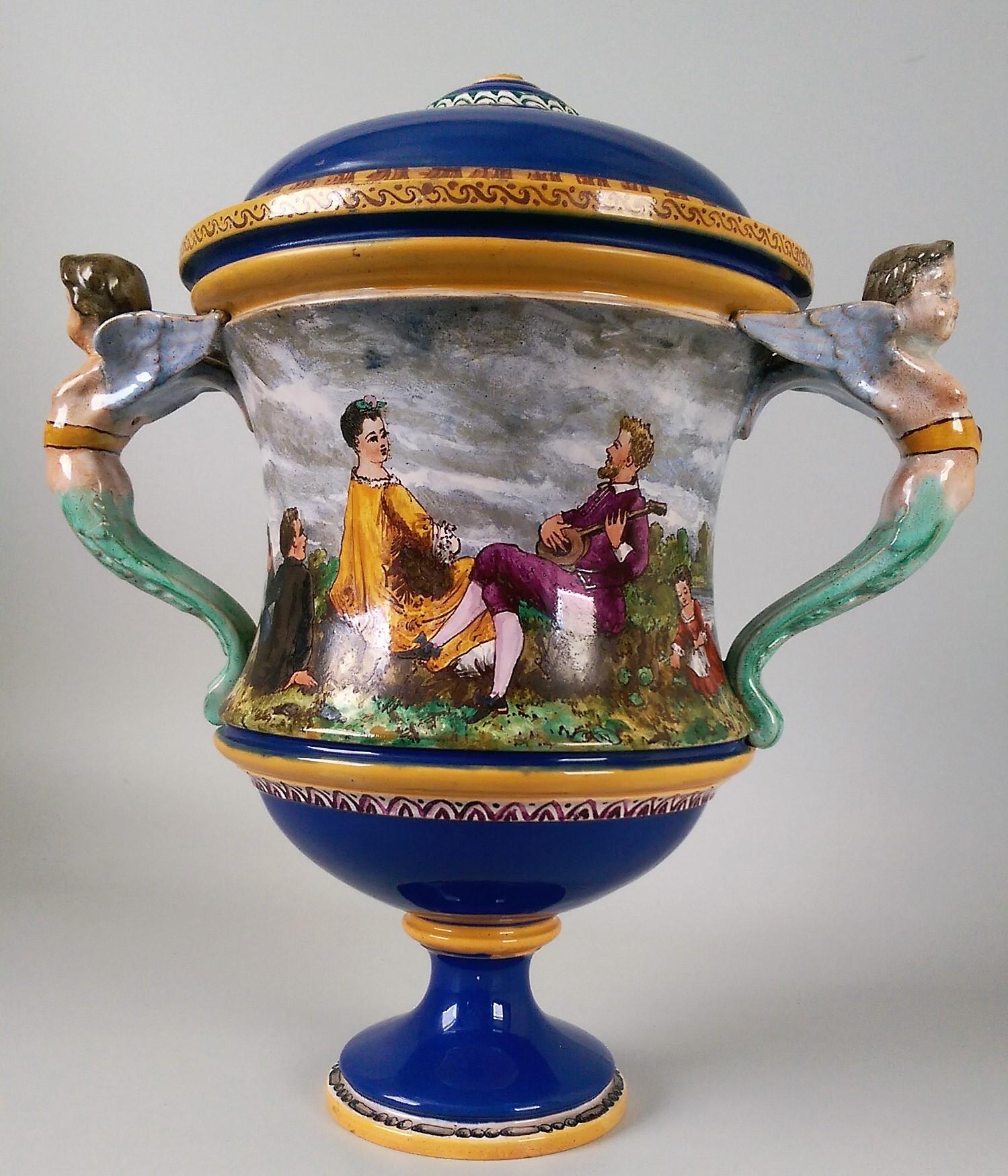 Minton vase, shape number 746 for tin-glaze majolica decoration.