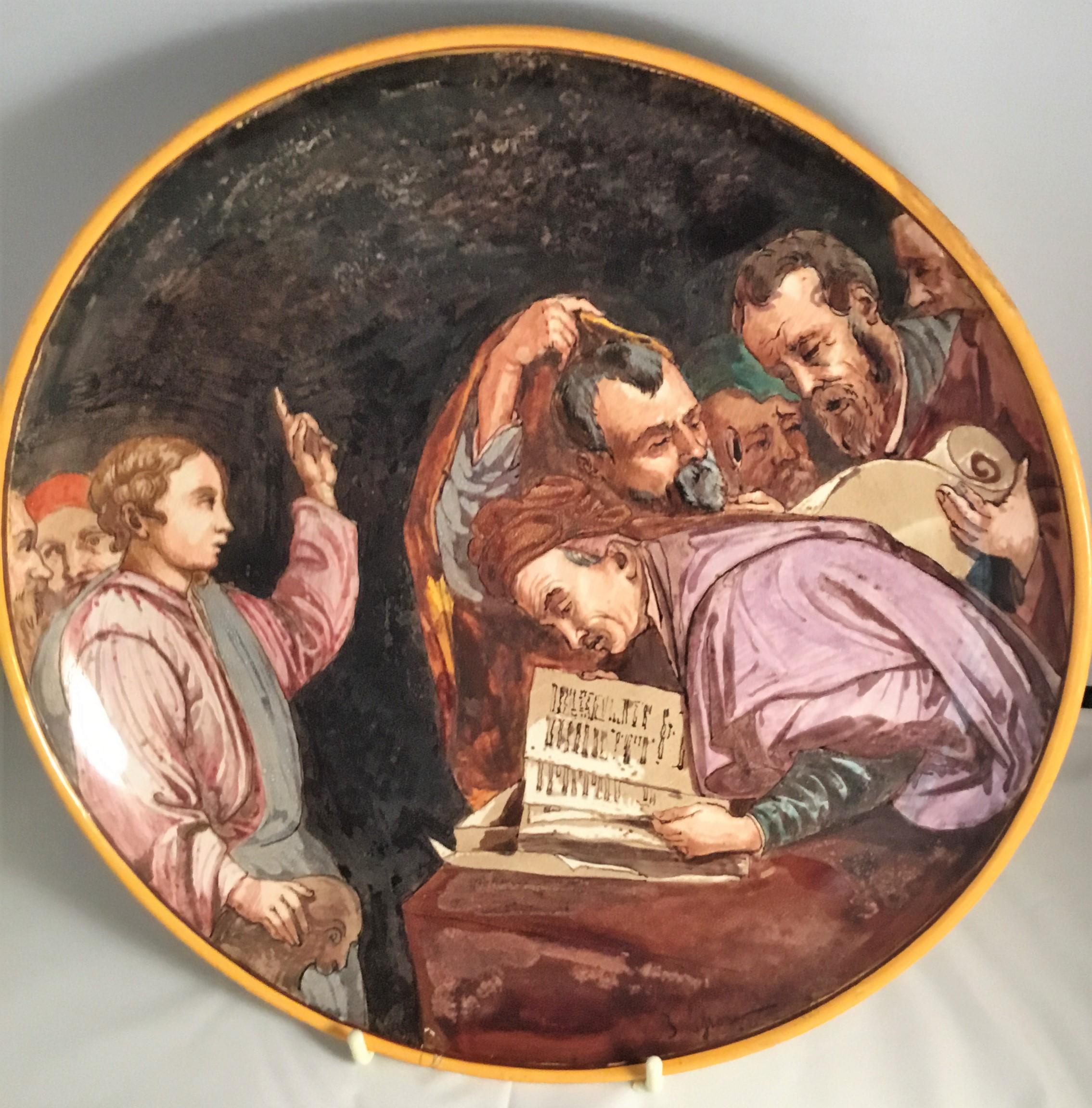 Minton tin-glazed majolica istoriato tondini. Signed to the front by E. Lessore.