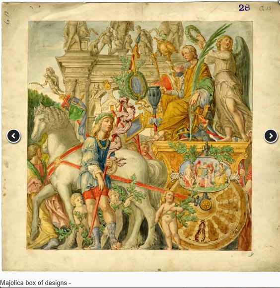 From Mantegna 'Triumph of Caesar' series, design source of Minton tin-glaze elliptic dish.